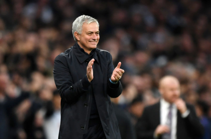 LONDON, ENGLAND - DECEMBER 07: Jose Mourinho, Manager of Tottenham Hotspur applauds after Heung-Min Son of Tottenham Hotspur scores his team's third goal during the Premier League match between Tottenham Hotspur and Burnley FC at Tottenham Hotspur Stadium on December 07, 2019 in London, United Kingdom. (Photo by Shaun Botterill/Getty Images)