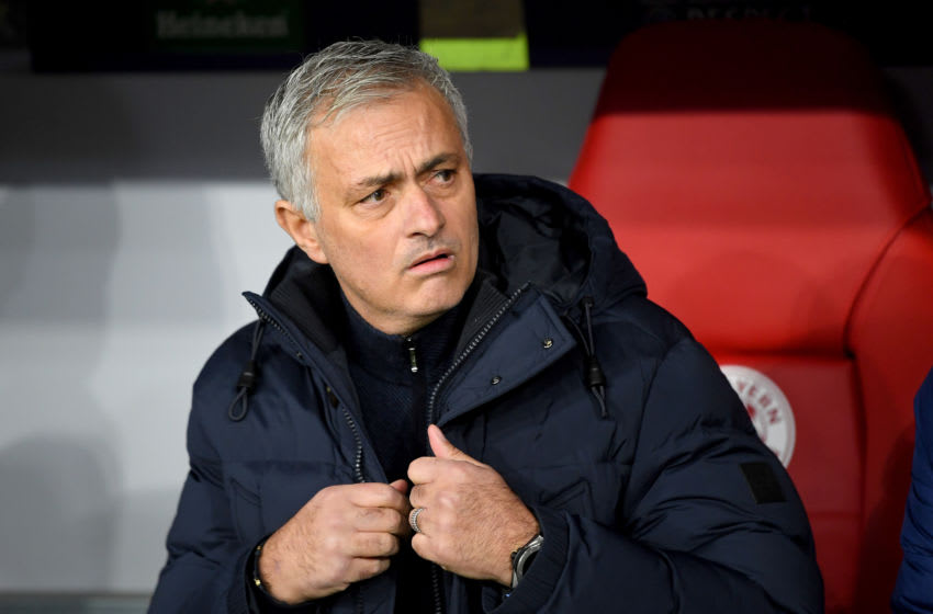 MUNICH, GERMANY - DECEMBER 11: Jose Mourinho, Manager of Tottenham Hotspur looks on prior to the UEFA Champions League group B match between Bayern Muenchen and Tottenham Hotspur at Allianz Arena on December 11, 2019 in Munich, Germany. (Photo by Michael Regan/Getty Images)