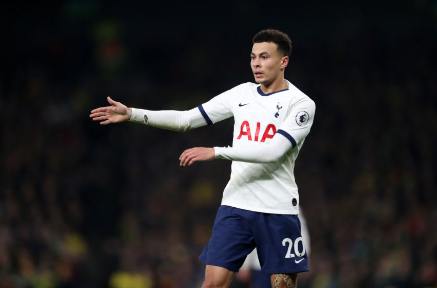 LONDON, ENGLAND - JANUARY 22: Dele Alli of Tottenham Hotspur reacts during the Premier League match between Tottenham Hotspur and Norwich City at Tottenham Hotspur Stadium on January 22, 2020 in London, United Kingdom. (Photo by Naomi Baker/Getty Images)
