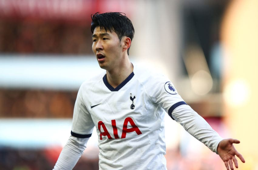BIRMINGHAM, ENGLAND - FEBRUARY 16: Son Heung-min of Tottenham Hotspur during the Premier League match between Aston Villa and Tottenham Hotspur at Villa Park on February 16, 2020 in Birmingham, United Kingdom. (Photo by Robbie Jay Barratt - AMA/Getty Images)