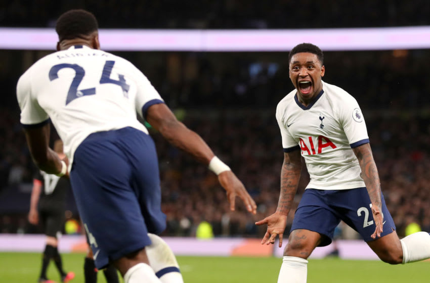 LONDON, ENGLAND - FEBRUARY 02: Steven Bergwijn of Tottenham Hotspur celebrates after scoring his team's first goal during the Premier League match between Tottenham Hotspur and Manchester City at Tottenham Hotspur Stadium on February 02, 2020 in London, United Kingdom. (Photo by Catherine Ivill/Getty Images)