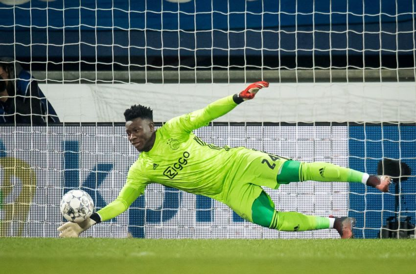 Ajax goalkeeper Andre Onana save during the Dutch Eredivisie match between sc Heerenveen and Ajax Amsterdam at Abe Lenstra Stadium on March 07, 2020 in Heerenveen, The Netherlands(Photo by ANP Sport via Getty Images)