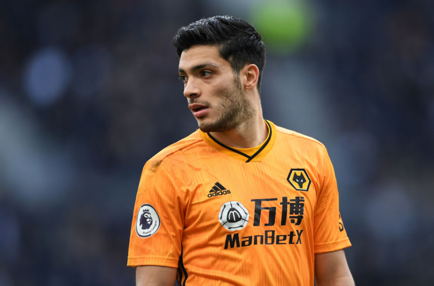 LONDON, ENGLAND - MARCH 01: Raul Jimenez of Wolverhampton Wanderers looks on during the Premier League match between Tottenham Hotspur and Wolverhampton Wanderers at Tottenham Hotspur Stadium on March 01, 2020 in London, United Kingdom. (Photo by Harriet Lander/Copa/Getty Images)