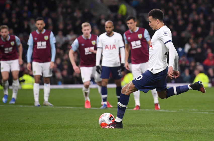 BURNLEY, ENGLAND - MARCH 07: Dele Alli of Tottenham Hotspur scores his team's first goal from the penalty spot during the Premier League match between Burnley FC and Tottenham Hotspur at Turf Moor on March 07, 2020 in Burnley, United Kingdom. (Photo by Stu Forster/Getty Images)