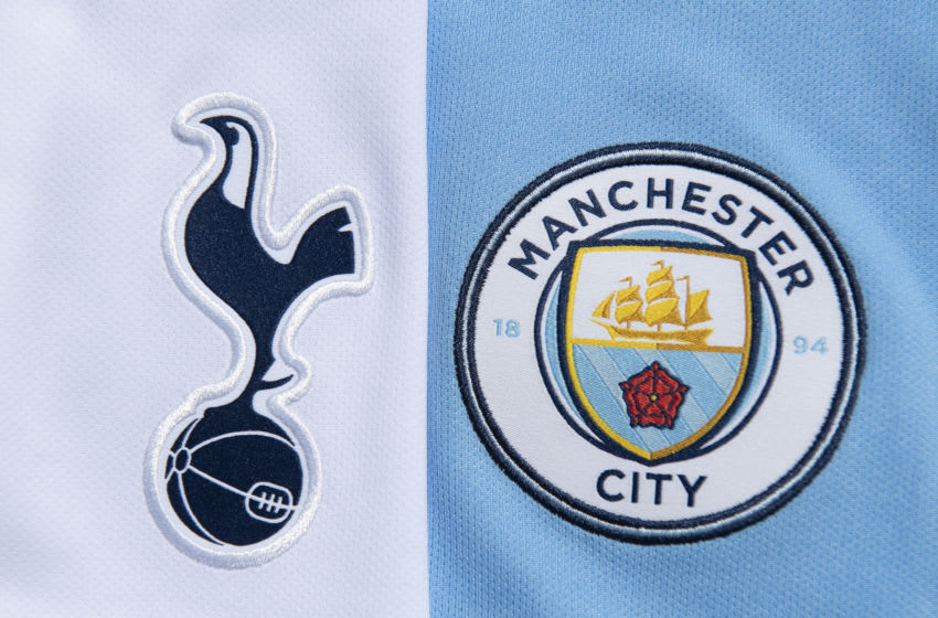 MANCHESTER, ENGLAND - MAY 14: The Tottenham Hotspur and Manchester City club crests on their first team home shirts on May 14, 2020 in Manchester, England. (Photo by Visionhaus)