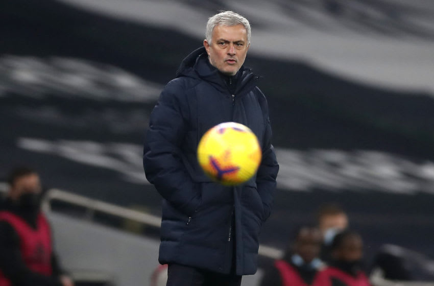 Tottenham Hotspur's Portuguese head coach Jose Mourinho reacts during the English Premier League football match between Tottenham Hotspur and Fulham at Tottenham Hotspur Stadium in London, on January 13, 2021. (Photo by MATTHEW CHILDS/POOL/AFP via Getty Images)