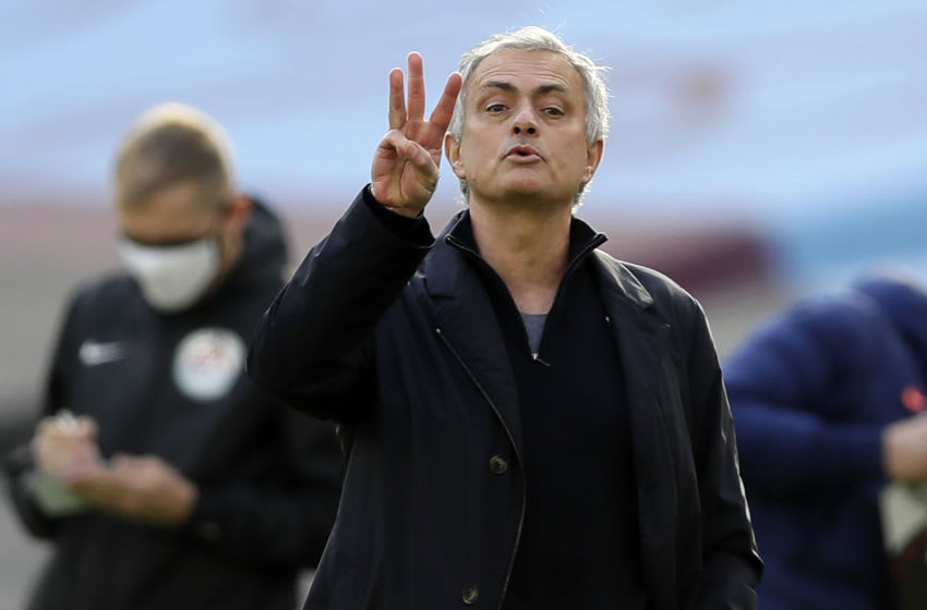 Tottenham Hotspur's Portuguese head coach Jose Mourinho gestures on the touchline during the English Premier League football match between West Ham United and Tottenham Hotspur at The London Stadium, in east London on February 21, 2021. (Photo by Kirsty Wigglesworth / POOL / AFP) / RESTRICTED TO EDITORIAL USE. No use with unauthorized audio, video, data, fixture lists, club/league logos or 'live' services. Online in-match use limited to 120 images. An additional 40 images may be used in extra time. No video emulation. Social media in-match use limited to 120 images. An additional 40 images may be used in extra time. No use in betting publications, games or single club/league/player publications. / (Photo by KIRSTY WIGGLESWORTH/POOL/AFP via Getty Images)