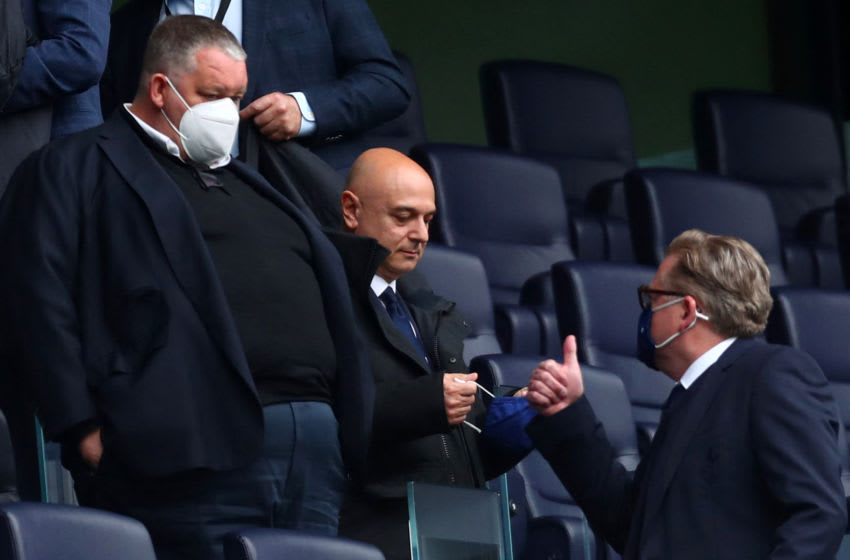 Tottenham Hotspur's English chairman Daniel Levy (C) takes his seat in the director's box ahead of the English Premier League football match between Tottenham Hotspur and Southampton at Tottenham Hotspur Stadium in north London on April 21, 2021. - - RESTRICTED TO EDITORIAL USE. No use with unauthorized audio, video, data, fixture lists, club/league logos or 'live' services. Online in-match use limited to 120 images. An additional 40 images may be used in extra time. No video emulation. Social media in-match use limited to 120 images. An additional 40 images may be used in extra time. No use in betting publications, games or single club/league/player publications. (Photo by Clive Rose / POOL / AFP) / RESTRICTED TO EDITORIAL USE. No use with unauthorized audio, video, data, fixture lists, club/league logos or 'live' services. Online in-match use limited to 120 images. An additional 40 images may be used in extra time. No video emulation. Social media in-match use limited to 120 images. An additional 40 images may be used in extra time. No use in betting publications, games or single club/league/player publications. / RESTRICTED TO EDITORIAL USE. No use with unauthorized audio, video, data, fixture lists, club/league logos or 'live' services. Online in-match use limited to 120 images. An additional 40 images may be used in extra time. No video emulation. Social media in-match use limited to 120 images. An additional 40 images may be used in extra time. No use in betting publications, games or single club/league/player publications. (Photo by CLIVE ROSE/POOL/AFP via Getty Images)