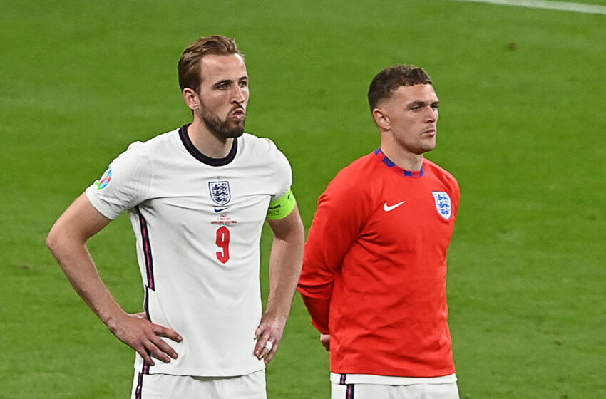 England's forward Harry Kane (L) and England's defender Kieran Trippier react to their loss in the UEFA EURO 2020 final football match between Italy and England at the Wembley Stadium in London on July 11, 2021. (Photo by FACUNDO ARRIZABALAGA / POOL / AFP) (Photo by FACUNDO ARRIZABALAGA/POOL/AFP via Getty Images)