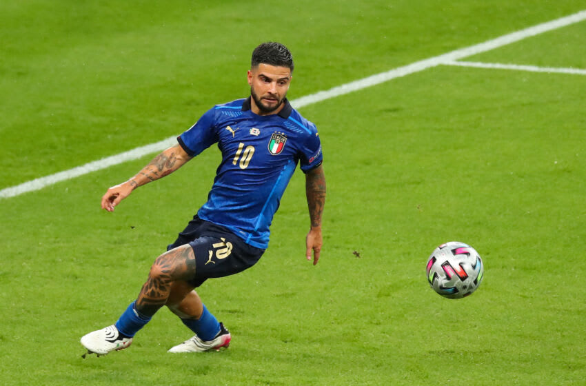 LONDON, ENGLAND - JULY 11: Lorenzo Insigne of Italy during the UEFA Euro 2020 Championship Final between Italy and England at Wembley Stadium on July 11, 2021 in London, United Kingdom. (Photo by Robbie Jay Barratt - AMA/Getty Images)