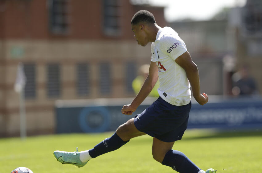 LONDON, ENGLAND - JULY 17: Dane Scarlett of Tottenham Hotspur scores their first goal during the pre-season friendly match between Leyton Orient and Tottenham Hotspur at The Breyer Group Stadium on July 17, 2021 in London, England. (Photo by Henry Browne/Getty Images)