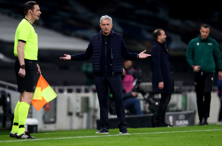 LONDON, ENGLAND - FEBRUARY 24: Jose Mourinho, Manager of Tottenham Hotspur reacts during the UEFA Europa League Round of 32 match between Tottenham Hotspur and Wolfsberger AC at The Tottenham Hotspur Stadium on February 24, 2021 in London, England (Photo by Julian Finney/Getty Images)