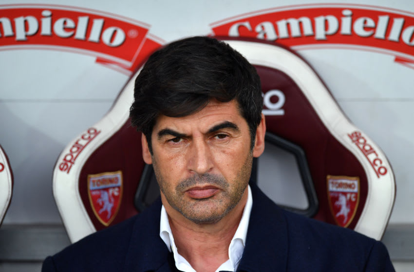 TURIN, ITALY - APRIL 18: Paulo Fonseca, Head Coach of Roma looks on prior to the Serie A match between Torino FC and AS Roma at Stadio Olimpico di Torino on April 18, 2021 in Turin, Italy. Sporting stadiums around Italy remain under strict restrictions due to the Coronavirus Pandemic as Government social distancing laws prohibit fans inside venues resulting in games being played behind closed doors. (Photo by Valerio Pennicino/Getty Images)