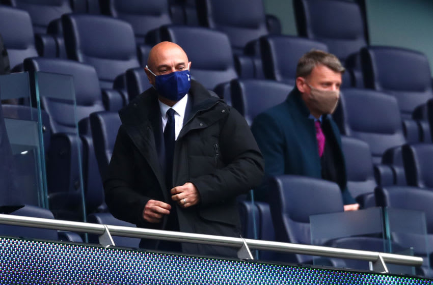 LONDON, ENGLAND - APRIL 21: Daniel Levy, Chairman of Tottenham Hotspur looks on during the Premier League match between Tottenham Hotspur and Southampton at Tottenham Hotspur Stadium on April 21, 2021 in London, England. Sporting stadiums around the UK remain under strict restrictions due to the Coronavirus Pandemic as Government social distancing laws prohibit fans inside venues resulting in games being played behind closed doors. (Photo by Clive Rose/Getty Images)