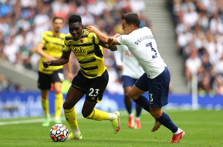 LONDON, ENGLAND - AUGUST 29: Ismaila Sarr of Watford battles for possession with Sergio Reguilon of Tottenham Hotspur during the Premier League match between Tottenham Hotspur and Watford at Tottenham Hotspur Stadium on August 29, 2021 in London, England. (Photo by Catherine Ivill/Getty Images)