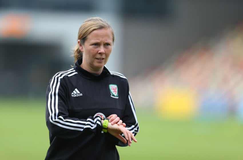NEWPORT, WALES - SEPTEMBER 20: Rehanne Skinner assistant coach of Wales Women during the Women's Euro 2017 qualifier match between Wales Women and Austria Women at Rodney Parade on September 20, 2016 in Newport, Wales. (Photo by Catherine Ivill - AMA/Getty Images)