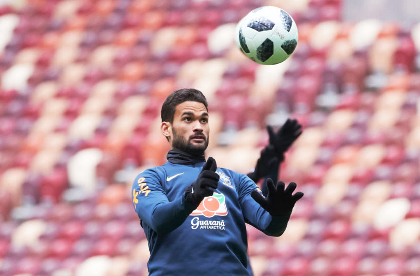 MOSCOW, RUSSIA - MARCH 22: Willian Jose of Brazil attends a training session ahead of a friendly match between Russia and Brazil at Luzhniki Stadium on March 22, 2018 in Moscow, Russia. (Photo by Oleg Nikishin/Epsilon/Getty Images)