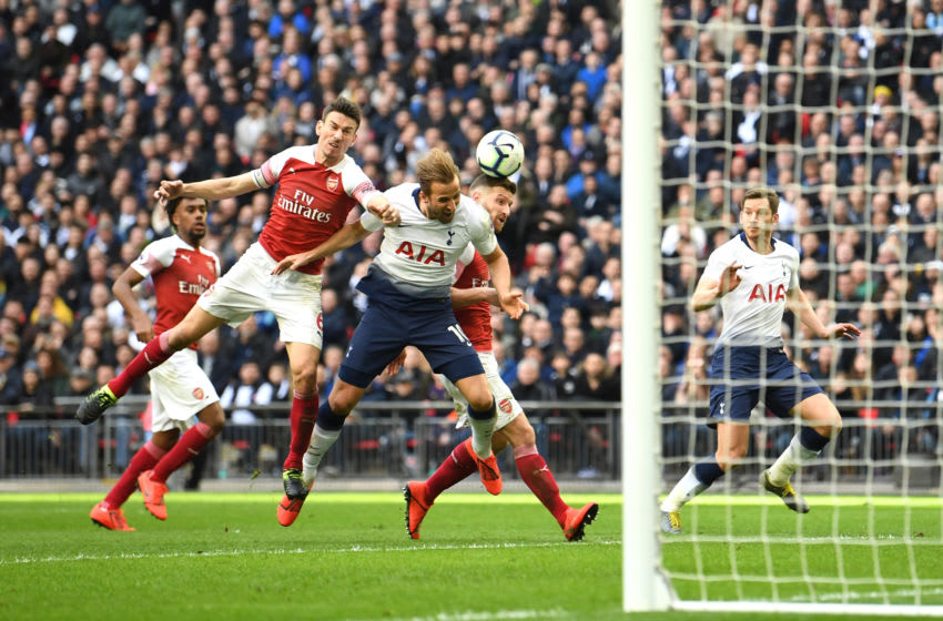 LONDON, ENGLAND - MARCH 02: Harry Kane of Tottenham Hotspur is fouled by Shkodran Mustafi of Arsenal resulting in a penalty during the Premier League match between Tottenham Hotspur and Arsenal FC at Wembley Stadium on March 02, 2019 in London, United Kingdom. (Photo by Michael Regan/Getty Images)