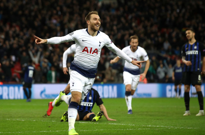 LONDON, ENGLAND - NOVEMBER 28: Christian Eriksen of Tottenham Hotspur celebrates after he scores his sides first goal during the UEFA Champions League Group B match between Tottenham Hotspur and FC Internazionale at Wembley Stadium on November 28, 2018 in London, United Kingdom. (Photo by Julian Finney/Getty Images)