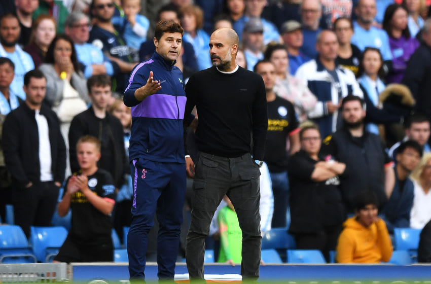MANCHESTER, ENGLAND - AUGUST 17: Mauricio Pochettino, Manager of Tottenham Hotspur speaks with Pep Guardiola, Manager of Manchester City after the final whistle during the Premier League match between Manchester City and Tottenham Hotspur at Etihad Stadium on August 17, 2019 in Manchester, United Kingdom. (Photo by Shaun Botterill/Getty Images)