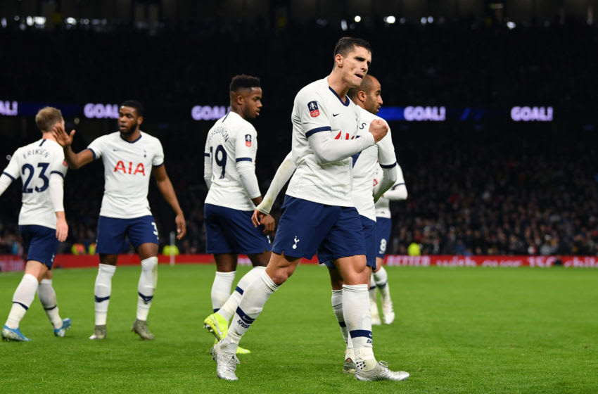 LONDON, ENGLAND - JANUARY 14: Erik Lamela of Tottenham Hotspur celebrates with his teammates after scoring his sides second goal during the FA Cup Third Round Replay match between Tottenham Hotspur and Middlesbrough FC at Tottenham Hotspur Stadium on January 14, 2020 in London, England. (Photo by Justin Setterfield/Getty Images)