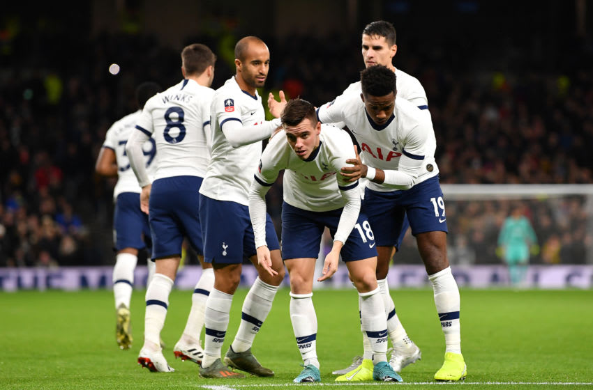 LONDON, ENGLAND - JANUARY 14: Giovani Lo Celso of Tottenham Hotspur celebrates with his teammates after scoring his sides first goal during the FA Cup Third Round Replay match between Tottenham Hotspur and Middlesbrough at Tottenham Hotspur Stadium on January 14, 2020 in London, England. (Photo by Justin Setterfield/Getty Images)