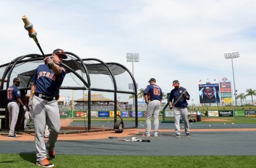 Mar 3, 2016; Clearwater, FL, USA; Houston Astros catcher Tyler Heineman (72) warms up before hitting in the batting cage before the spring training game against the Philadelphia Phillies at Bright House Field. Mandatory Credit: Jonathan Dyer-USA TODAY Sports