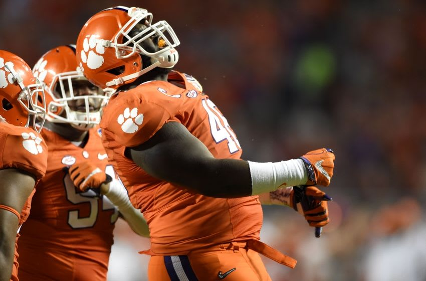 Dec 31, 2015; Miami Gardens, FL, USA; Clemson Tigers defensive tackle D.J. Reader (48) reacts after a play against the Oklahoma Sooners in the third quarter of the 2015 CFP Semifinal at the Orange Bowl at Sun Life Stadium. Mandatory Credit: John David Mercer-USA TODAY Sports