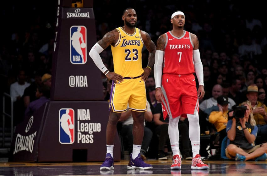 Houston Rockets forward Carmelo Anthony along with Lakers' forward LeBron James (Photo by Harry How/Getty Images)