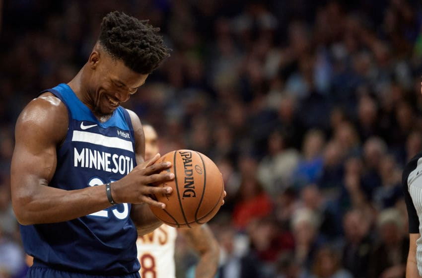 MINNEAPOLIS, MN - OCTOBER 19: Jimmy Butler #23 of the Minnesota Timberwolves prepares to shoot a free throw during the game against the Cleveland Cavaliers on October 19, 2018 at the Target Center in Minneapolis, Minnesota. The Timberwolves defeated the Cavaliers 131-123. NOTE TO USER: User expressly acknowledges and agrees that, by downloading and or using this Photograph, user is consenting to the terms and conditions of the Getty Images License Agreement. (Photo by Hannah Foslien/Getty Images)
