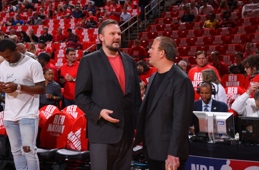 Houston Rockets owner Tilman Fertitta and general manager Daryl Morey (Photo by Bill Baptist/NBAE via Getty Images)