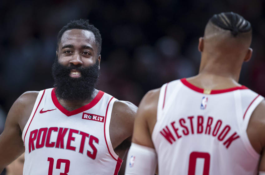 Houston Rockets guards James Harden and Russell Westbrook (Photo by Scott Taetsch/Getty Images)
