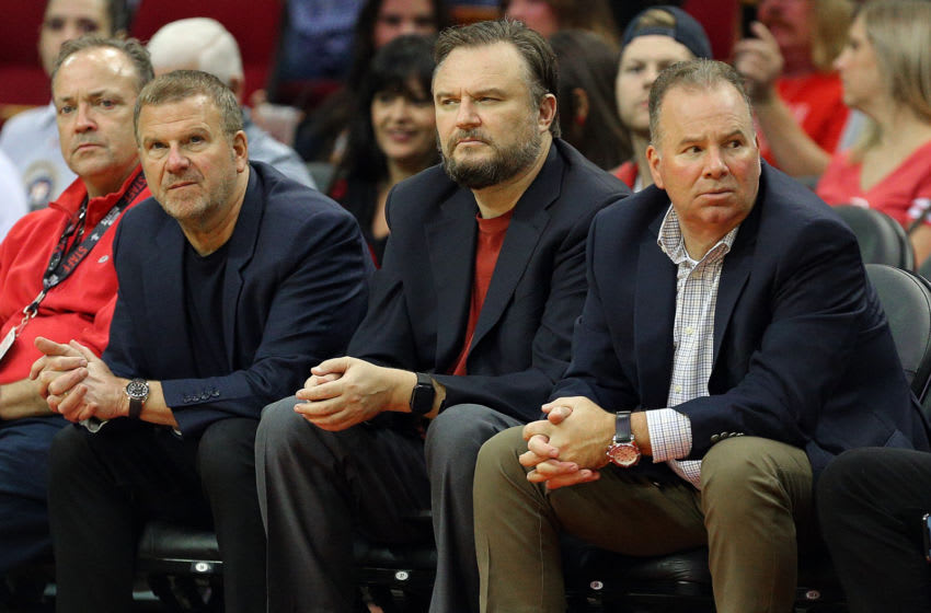 Houston Rockets owner Tilman Fertitta and general manager Daryl Morey (Photo by Bob Levey/Getty Images)