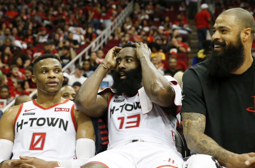 Houston Rockets guards James Harden and Russell Westbrook (Photo by Tim Warner/Getty Images)