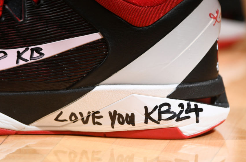 Houston Rockets forward P.J. Tucker paying tribute to the late NBA star Kobe Bryant (Photo by Garrett Ellwood/NBAE via Getty Images)