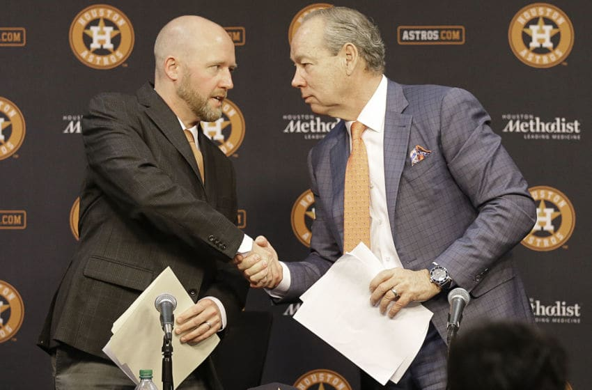 Houston Astros owner Jim Crane and general manager James Click (Photo by Bob Levey/Getty Images)