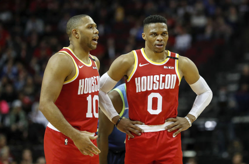 Houston Rockets guards Russell Westbrook and Eric Gordon (Photo by Tim Warner/Getty Images)