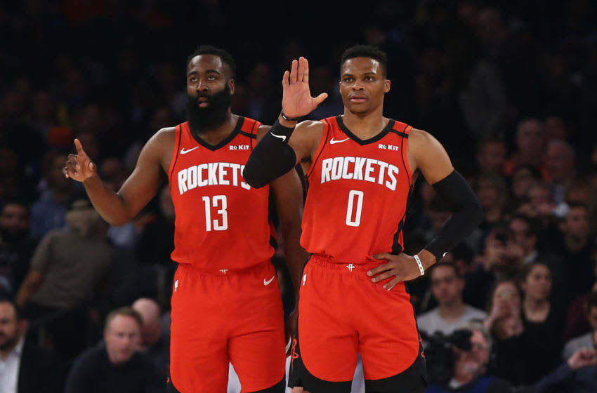 Houston Rockets guards James Harden and Russell Westbrook (Photo by Mike Stobe/Getty Images)