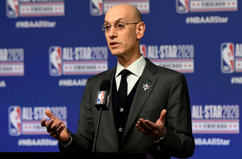 NBA Commissioner Adam Silver as the Houston Rockets wait for clearance to restart (Photo by Stacy Revere/Getty Images)