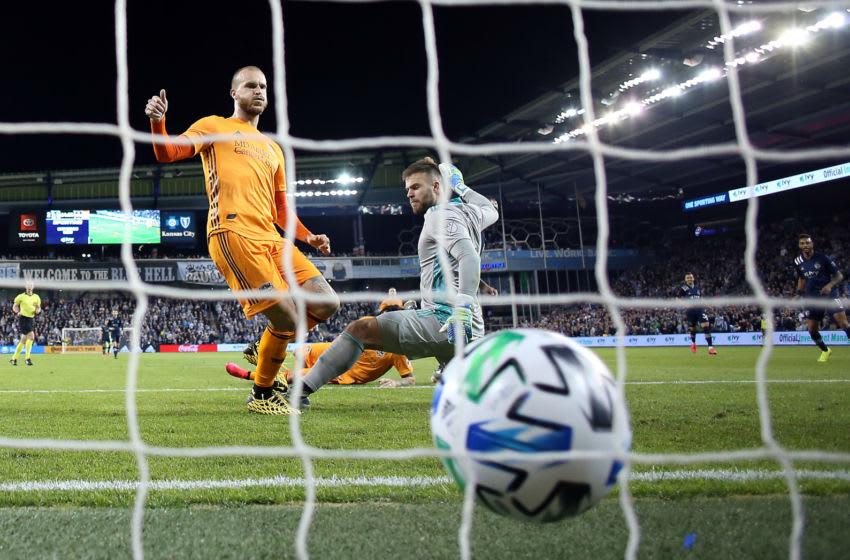 Dynamo defender Aljaz Struna kicks in a goal (Photo by Jamie Squire/Getty Images)