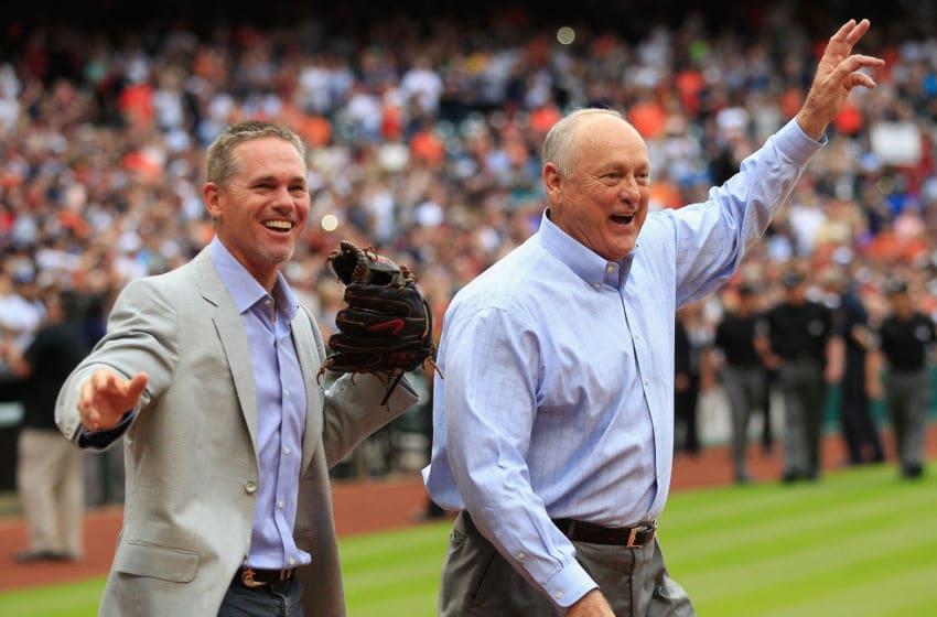 Former Houston Astros Craig Biggio and Nolan Ryan (Photo by Bob Levey/Getty Images)