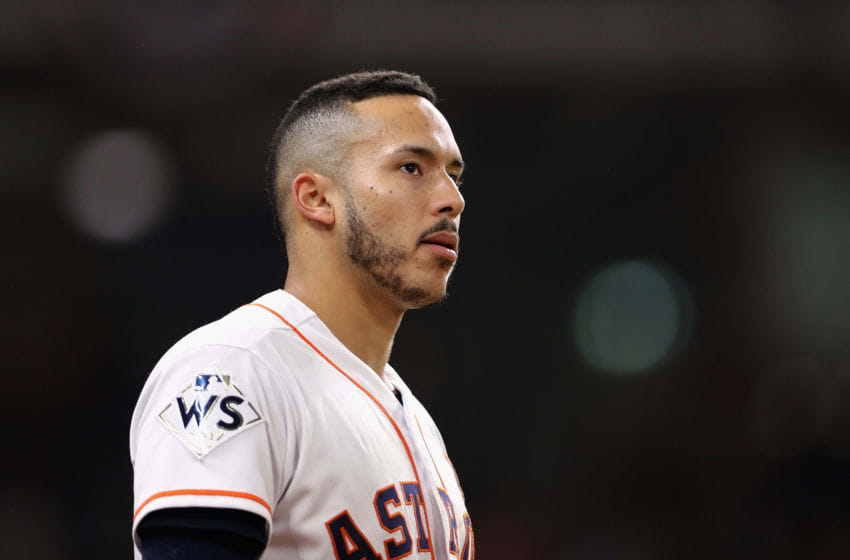 HOUSTON, TX - OCTOBER 29: Carlos Correa #1 of the Houston Astros looks on in game five of the 2017 World Series against the Los Angeles Dodgers at Minute Maid Park on October 29, 2017 in Houston, Texas. (Photo by Christian Petersen/Getty Images)