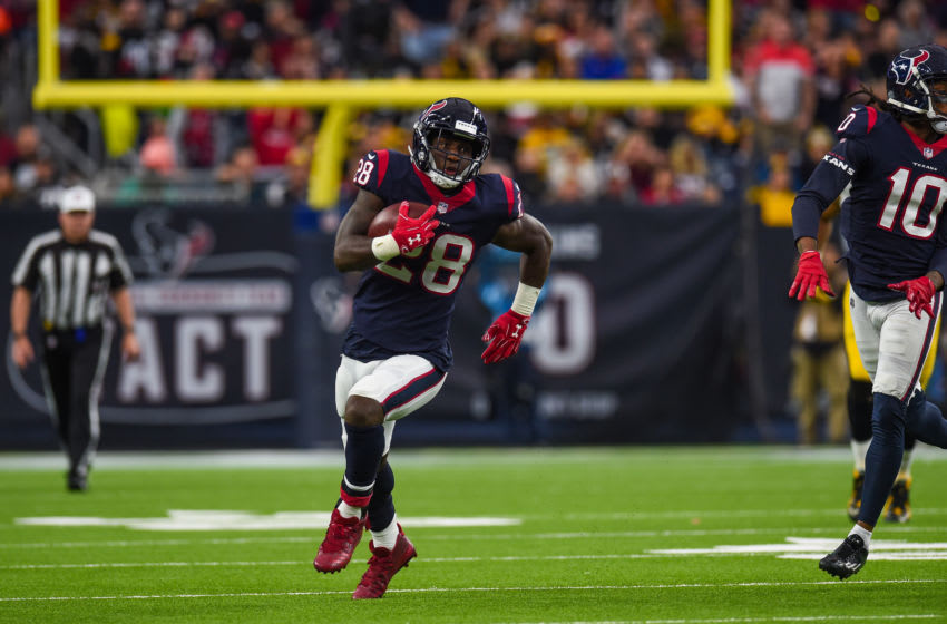HOUSTON, TX - DECEMBER 25: Houston Texans running back Alfred Blue (28) runs the ball during the NFL game between the Pittsburgh Steelers and the Houston Texans on December 25, 2017 at NRG Stadium in Houston, Texas. (Photo by Daniel Dunn/Icon Sportswire via Getty Images)