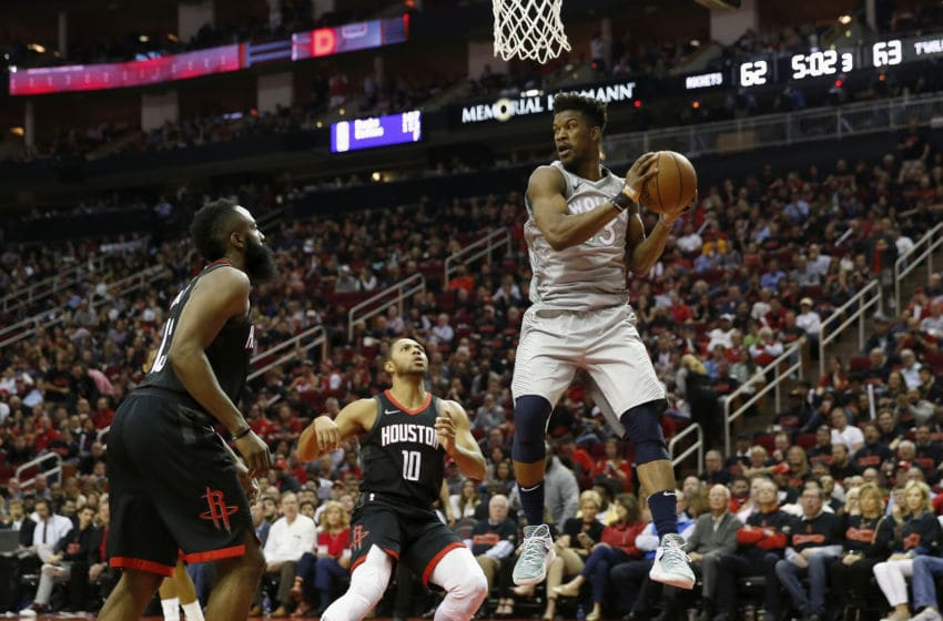 HOUSTON, TX - APRIL 15: Jimmy Butler #23 of the Minnesota Timberwolves (Photo by Tim Warner/Getty Images)