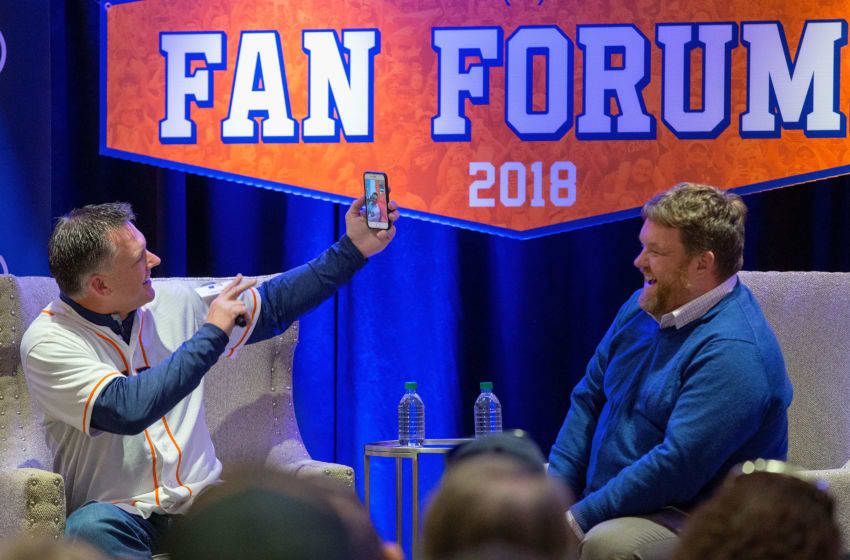 HOUSTON, TX - JANUARY 13: A.J. Hinch and SiriusXM radio host Mike Ferrin attend SiriusXM Town Hall With Houston Astros World Series Manager A.J. Hinch on January 13, 2018 in Houston, Texas. (Photo by Bob Levey/Getty Images for SiriusXM)