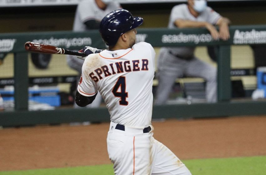 George Springer of the Houston Astros (Photo by Bob Levey/Getty Images)
