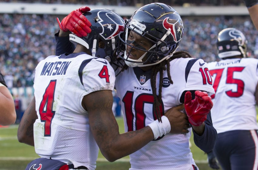 Watson and Hopkins of the Houston Texans (Photo by Mitchell Leff/Getty Images)