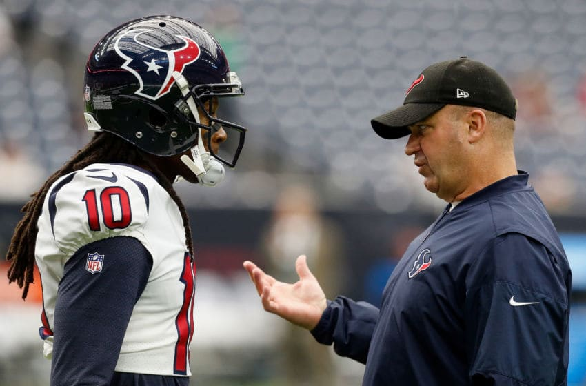 DeAndre Hopkins and head coach Bill O'Brien of the Houston Texans (Photo by Bob Levey/Getty Images)