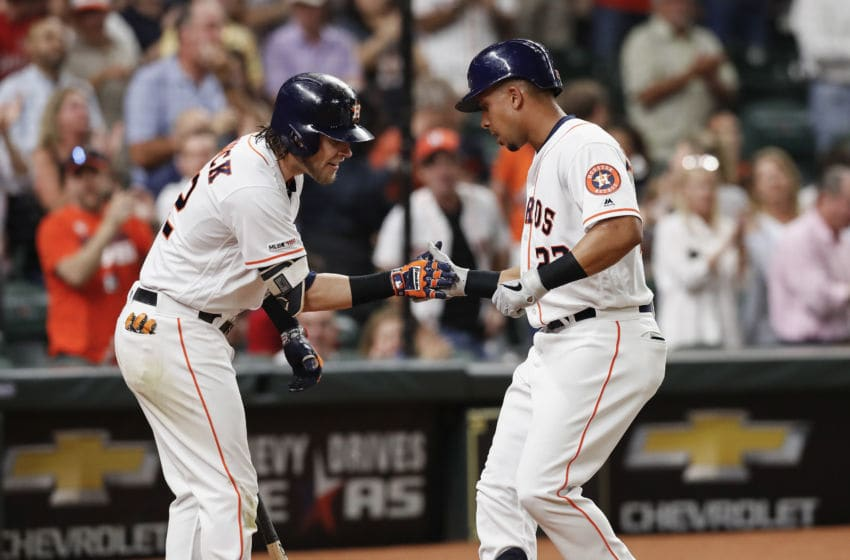 Josh Reddick and Michael Brantley of the Houston Astros (Photo by Tim Warner/Getty Images)