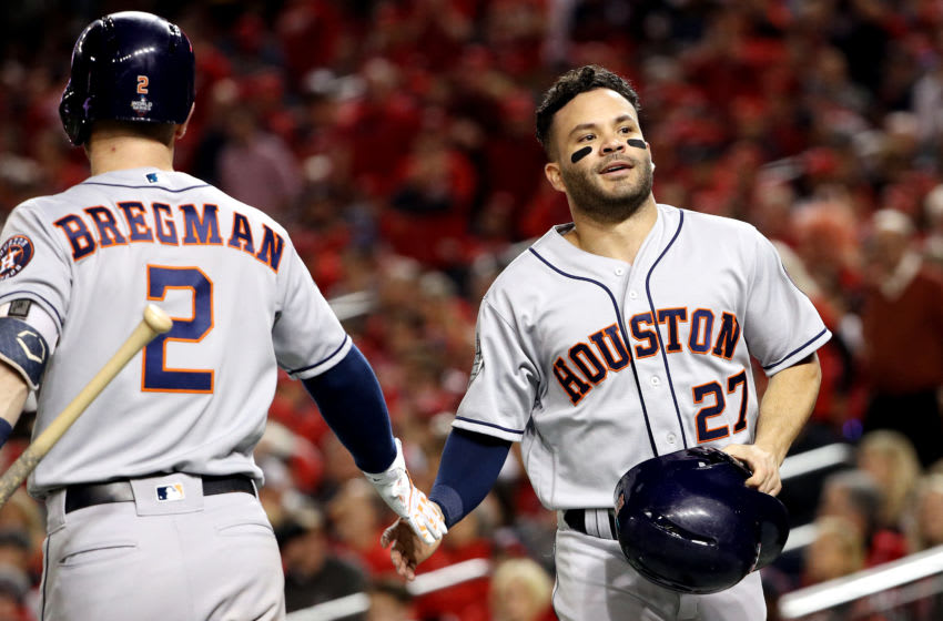 Jose Altuve and Alex Bregman of the Houston Astros. (Photo by Patrick Smith/Getty Images)